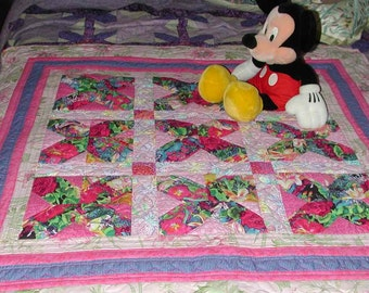 Baby Quilt Handmade Baby Shower gift Patchwork Pink Color For Baby Girl
