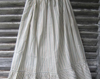 Antique Vintage French PROVENCE Provençal PETTICOAT SKIRT Yellow/Green Stripes with Hd crocheted lace trim edging ca. 1910