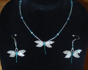 Dragonfly Necklace with Dragonfly Earring Set