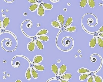 """Susybee Fabric / Nursery Fabric - Whimsical Floral Purple 100% cotton fabric by the yard 36""""x42"""" (G251)"""