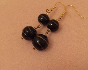 Black & Gold Swirl Earrings
