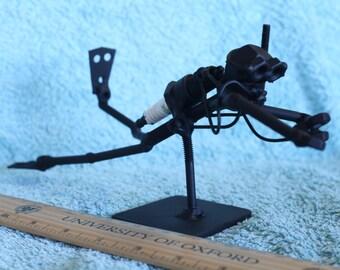 Scuba Diver Figurine. Nuts and Bolts Metal Artwork. Scuba Diver Statue