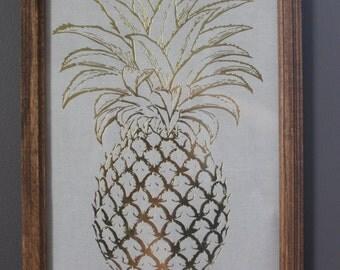 Framed Gold Foil Pineapple Wall Art