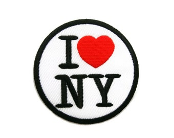 I Love New York / I Love NY Embroidered Applique Iron on Patch 7.2 cm. x 7.2 cm.