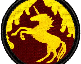 Flaming Unicorn Patch (458) 2 Inch Diameter Embroidered Patch