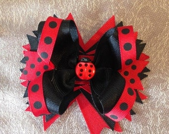 Hair bows, LadyBug Hair bows, Boutique Hairbows, Boutique Bows, Boutique Hair bows, stacked hairbows, layered hairbows,