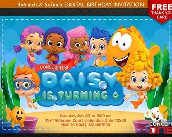 Bubble Guppies Invitation, Bubble Guppies Invite, Bubble Guppies Birthday Invite,Bubble Guppies, Birthday Invitation