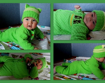 knitted baby hat + jacket + trousers. 3-6 month