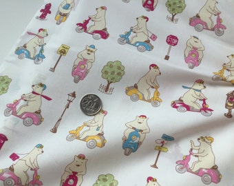 Polar Bears in the City White 100% Cotton Fabric