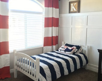Red and White Cabana Stripe Window Treatments/ Curtains
