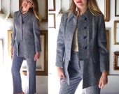 Vintage Wool Tweed 70s Blue and Ivory Suit from Ireland - Free Ship