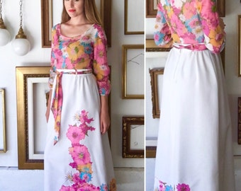 Vintage Pink Floral Belted Maxi Dress with Applique - Free Ship