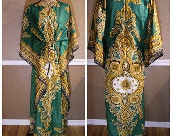 60s 70s green gold yellow caftan / kaftan / tunic / dashike hippie dress with tie one size