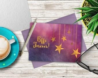 50%OFF SALE - BFFs Forever Printable Card 001 - Greeting Cards - Bff - digital cards - printable - best friends - friends - friendship - DIY