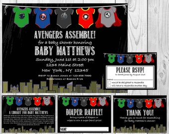 Avengers Superhero Baby Shower Invitation, RSVP Cards, Book Request, Diaper Raffle and Thank You Insert