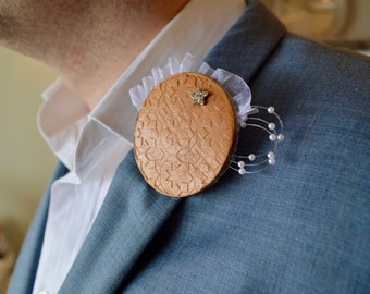 Leather Lapel Pin with just a bit of bling!