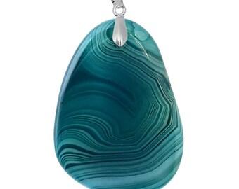 Freeform Blue-Green Onyx Agate Pendant