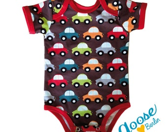 Colorful car lovers baby rompers