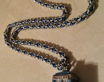 Blue and Silver Aluminum Chainmaille Necklace