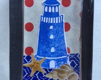 Lighthouse & Shells Collage Paperweight
