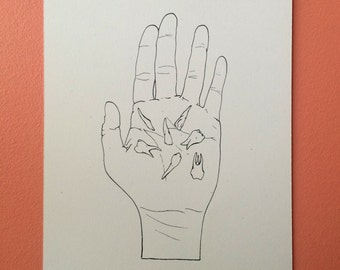 Holding your teeth : Hand pulled screenprint of hand holding teeth