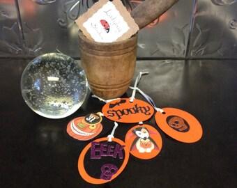 Set of 5 Halloween gift tags