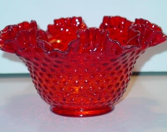 "Fenton Ruby Red Hobnail Ruffled 9"" Bowl Footed, Ruby Glass, Ruby Hobnail, Ruffled bowl"