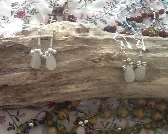 White Moonstone on Sterling Silver Findings With Sterling Silver Beads