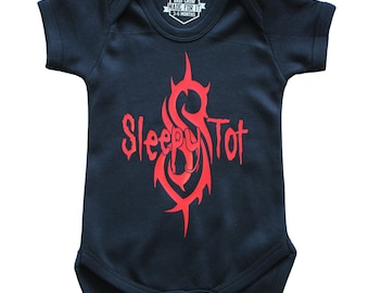 SLEEPY TOT Baby Grow - Available in 2 colours and 3 sizes! 100% Cotton - Onesie Punk Classic Rock Gift Newborn Goth Heavy Metal