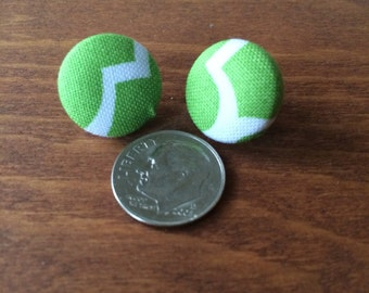 Green and white fabric covered button earrings