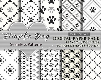 Dog Digital Paper Pack dog paw paper pack pet paper pack dog paw prints Scrapbook Album 12x12 inches