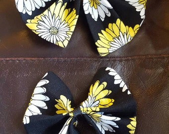 Handmade hairbows and ribbon barrettes with beads