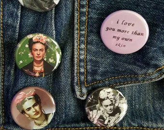 Frida Kahlo 1.25 inch buttons, MAGNETS, high quality
