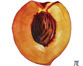 Peach Art Print | Peach Watercolor Painting | Peach Illustration | Farmhouse Kitchen | Farmhouse Decor | Kitchen Art | Food Illustration