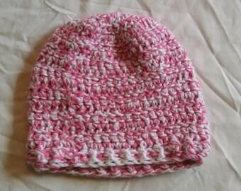Newborn pink and white crochet hat