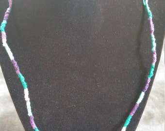 Teal and Purple Tied Necklace/Choker