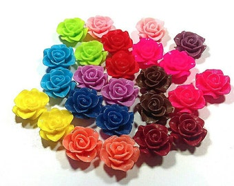 25 Rose cabochons - flower cabochons