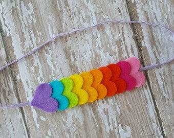 Rainbow heart headband, Rainbow baby headband , heart headband, Baby - toddler- girls headband,baby headband,felt headband