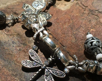 Silver dragonfly and butterfly bracelet / great for nature lover/ gardener/ easy to put on has a magnet clasp/ flowers /tiny pearl silver