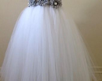 White Flower Girl Tutu dress