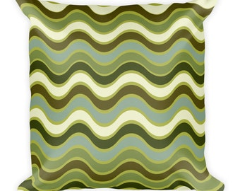 Waves Throw Pillow- Green