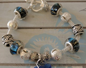 Nautical Sea blue charm bracelet