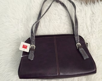 Vintage 90s Plum Double Strap Purse Handbag