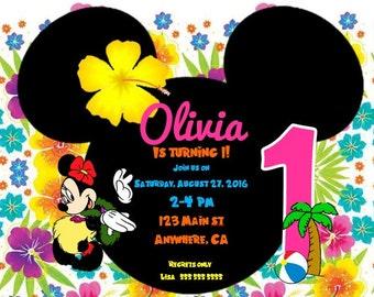 Minnie Luau Birthday Invitation