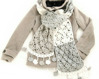 Extra long crochet scarf with flower border!