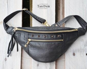 Handcrafted real leather punk waist bag / bum bag / hip bag / fanny pack