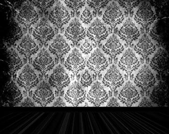 PolyPro Vinyl Photography Backdrop #1965 Dark Shadowed Damask & Wood Floor---Available in many sizes!