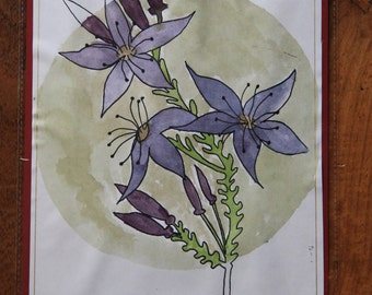 Watercolour and screenprint art