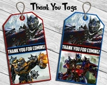 Transformers Birthday Party Thank You Tag * Thank You Card * Favor Tag * Digital Printable Instant Download File