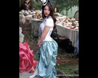 Ready to ship Alice in Wonderland Steampunk Costume White Corset with Light BlueTaffeta Bustle Skirt Dress Costume Cosplay